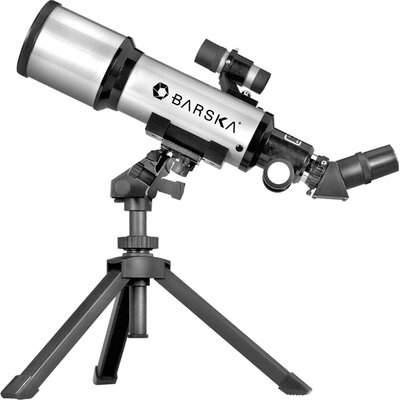 Barska 300 Power, 40070 Starwatcher Compact Refractor Telescopes, Silver with Table Top Tripod and Carrying Case