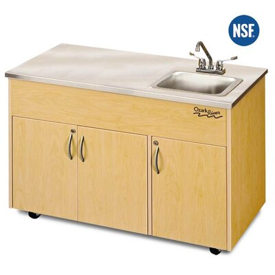 "Ozark River Portable Sinks Silver Advantage 48"" x 24"" Deep Basin Single Bowl Portable Handwash Station with Storage Cabinet"
