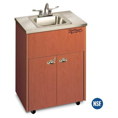 "Ozark River Portable Sinks Silver 26"" x 18"" Premier 1 Portable Hand Washing Station with Storage Cabinet"