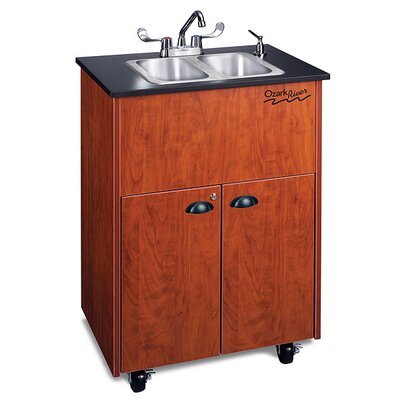 "Ozark River Portable Sinks Premier 26"" x 18"" Portable Double Handwashing Station with Storage Cabinet"