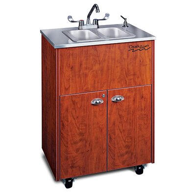 "Ozark River Portable Sinks Silver 26"" x 18"" Premier Portable Double Handwashing Station with Storage Cabinet"