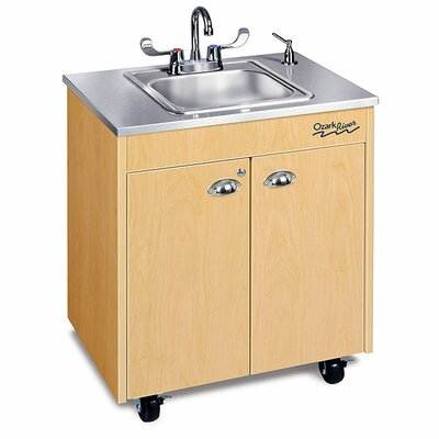 "Ozark River Portable Sinks Silver Lil' 26"" x 18"" Premier 1 Portable Hand Washting Station with Storage Cabinet"