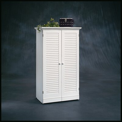 Sauder Harbor View Craft Armoire in Distressed Antiqued White