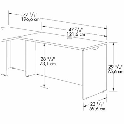"Sauder Via 29.75"" H x 47.875"" W Reversible Desk Return"