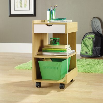 Sauder Juice Studio Edge Utility Cart in Rice and White Oak