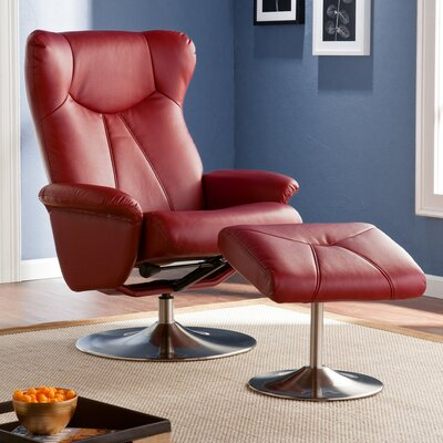 Wildon Home ® Barrington Bonded Leather Recliner and Ottoman