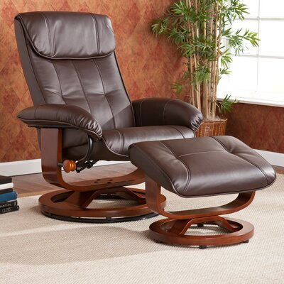 Wildon Home ® Carter Bonded Leather Recliner and Ottoman