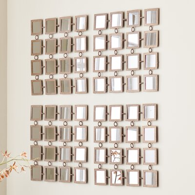 Wildon Home ® Haliwell Mirrored Grid 4 Piece Wall Panel Set