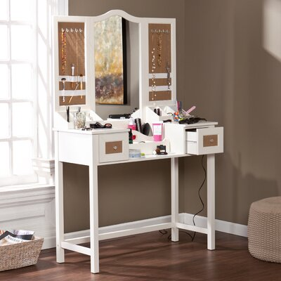 wildon home monterey vanity desk with mirror and jewelry storage reviews wayfair. Black Bedroom Furniture Sets. Home Design Ideas