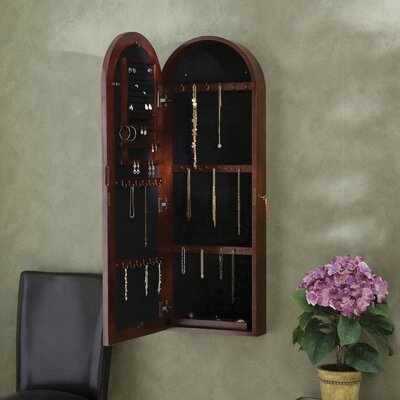 Wildon Home ® Fenwick Wall Mount Jewelry Armoire - Dark Cherry