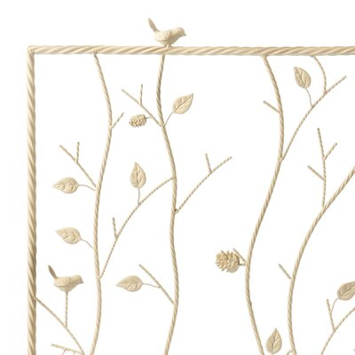 Wildon Home ® Bluewood Bird and Branch Metal Fireplace Screen