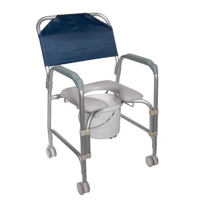 Drive Medical Knock Down Aluminum Shower Chair and Commode with Casters