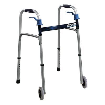 Drive Medical Trigger Release Folding Walker in Brushed Steel