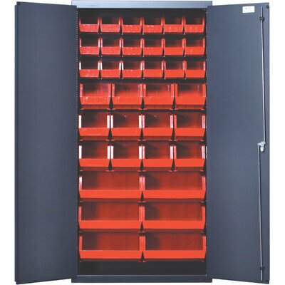 "Quantum Storage 36"" Wide Welded Storage Cabinet with 36 Ultra Bins"