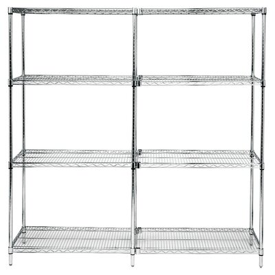 "Quantum Storage Small 54"" Q-Stor Chrome Wire Shelving Add-On Unit"