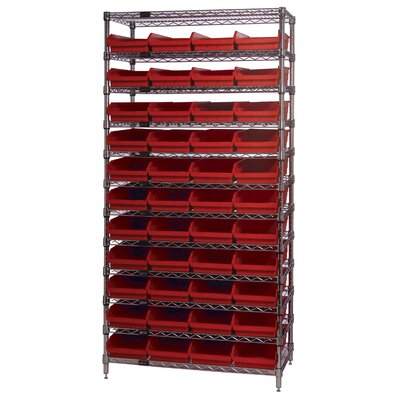 "Quantum Storage 18"" Q-Stor 12 Shelf Unit with Shelf Bins with Optional Mobile Kit"