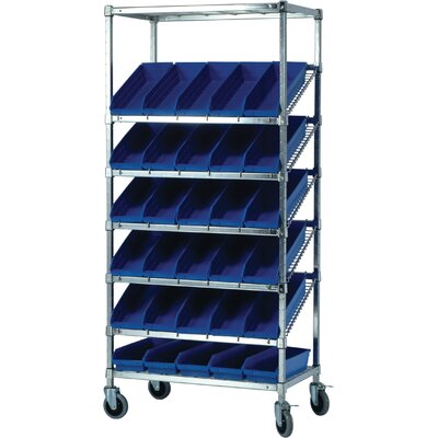 "Quantum Storage 21"" Slanted Wire Pick Racks Storage Unit with Economy Shelf Bins with Optional Mobile Kit"