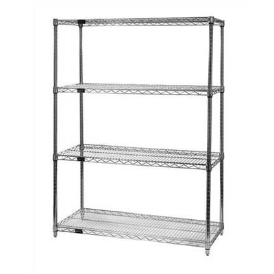"Quantum Storage Small 74"" Q-Stor Chrome Wire Shelving (Starter Kit) with Optional Mobile Kit"