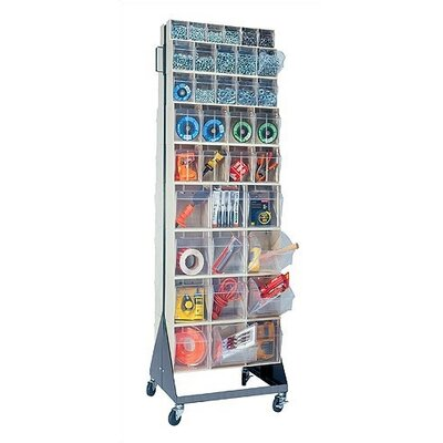 "Quantum Storage 70"" Mobile Double Sided Floor Stand Storage Unit with Tip Out Bins"