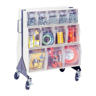 "Quantum Storage 24"" Mobile Double Sided Floor Stand Storage Unit with Tip Out Bins"