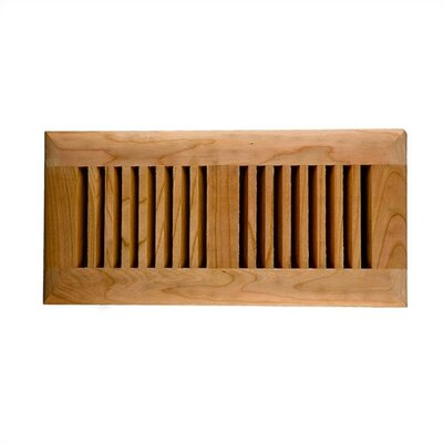 "Image Wood Vents 4"" x 10"" American Cherry Self Rimming Wood Vent Cover with Metal Damper"