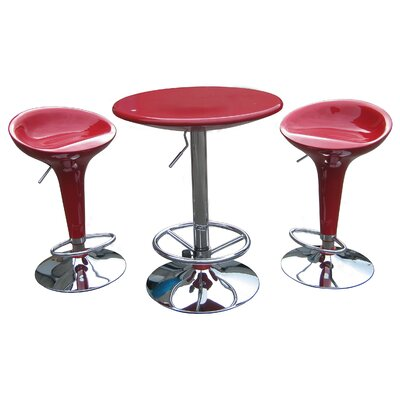 Boraam Industries Inc Luna Adjustable 3 Piece Pub Set in Red