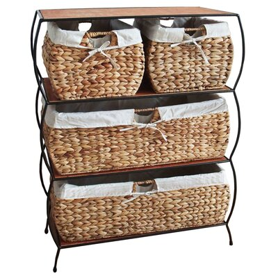 "Pangaea Home and Garden Seagrass Basket Storage 27"" x 35"" Free Standing Cabinet"