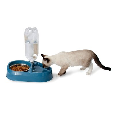 Petmate Combo Feeder and Waterer with Stainless Steel Bowl