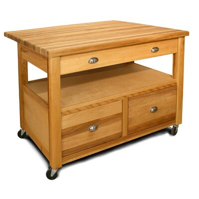 Catskill Craftsmen, Inc. The Grand Americana XL Workcenter Kitchen Cart with Butcher Block Top