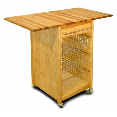 Basket Kitchen Cart with Butcher Block Top