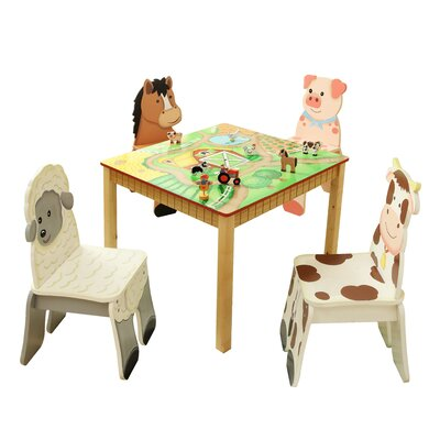 Teamson Kids Happy Farm Room Kid's 5 Piece Square Table and Chair Set