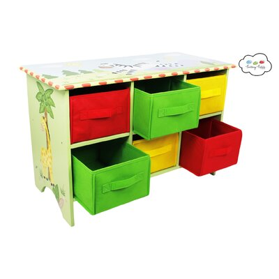 Teamson Kids Sunny Safari Storage 6 Compartment Cubby