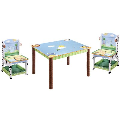 Teamson Kids Sunny Safari Kids' 3 Piece Table and Chair Set