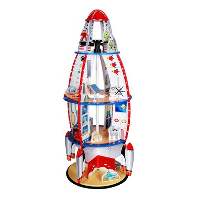 Teamson Kids Rocket Bookshelf with Figurines
