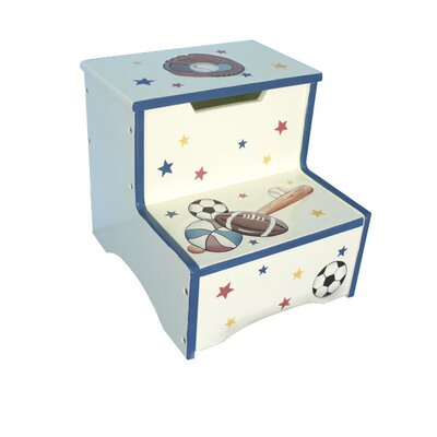 Sports Room 2-Step Boys Storage Step Stool