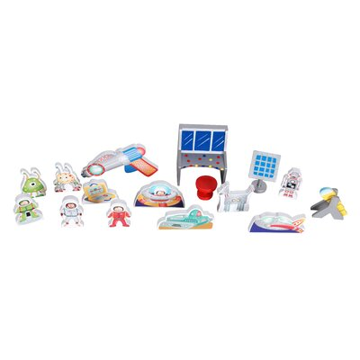 Teamson Kids Rocketship Bookshelf Playset with Figurines
