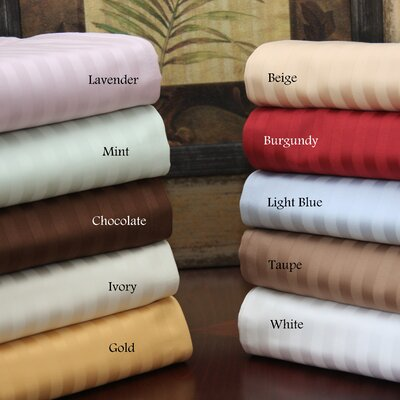 Simple Luxury 650 Thread Count Egyptian Queen Waterbed Cotton Stripe Sheet Set