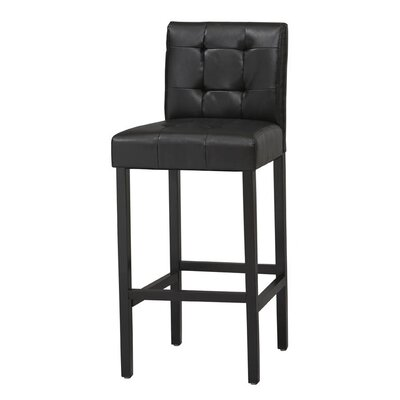 Bonded Leather Tufted Counter Stool in Black