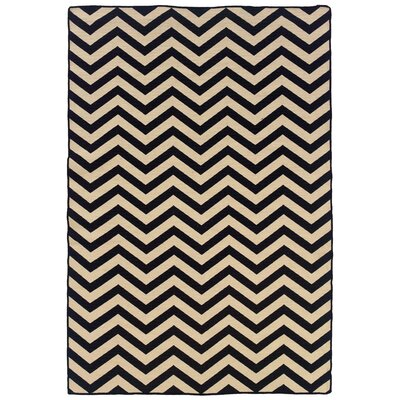 Linon Salonika Black Chevron Rug