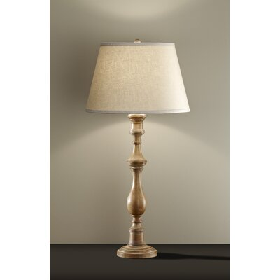 "Feiss Alira 34"" One Light Table Lamp in Medium Aged Wood"