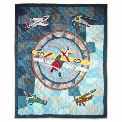 Patch Magic Airplane Cotton Throw Quilt