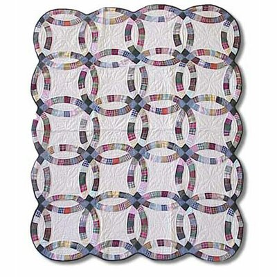 Country Wedding Ring Cotton Throw Quilt