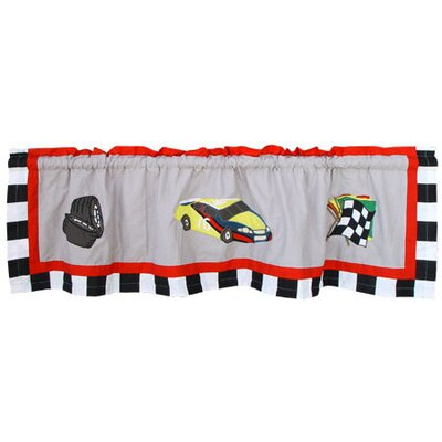 Patch Magic Racecar Cotton Rod Pocket Tailored Curtain Valance