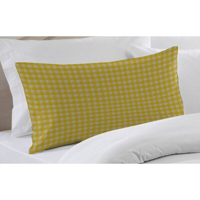 Patch Magic Yellow Pale and White Checks Fabric Pillow Sham