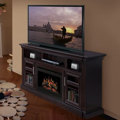 "Dimplex Bailey 66"" TV Stand with Electric Logs Fireplace"