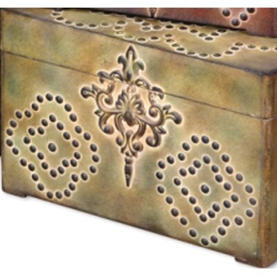 Uttermost Hobnail Boxes in Red, Green and Gold - Set of 3