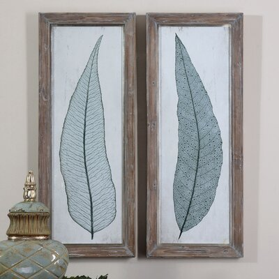 Tall Leaves 2 Piece Framed Painting Print Set