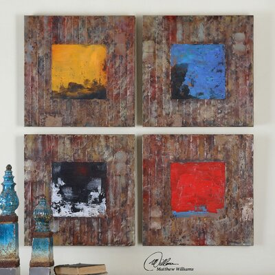 Primary Blocks by Matthew Williams 4 Piece Framed Original Painting Set