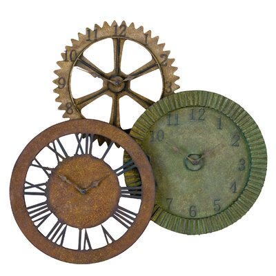 Rusty Gears Metal Wall Clock in Red, Brown, and Sage Green Rust