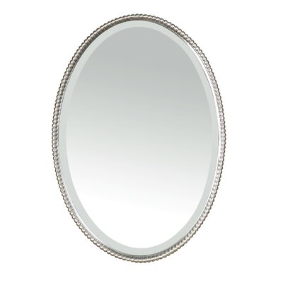 Uttermost Sherise Beaded Oval Mirror in Brushed Nickel